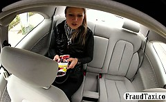 Hot blonde gets tricked by a taxi driver