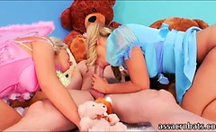 Cute blonde hotties gets asses drilled