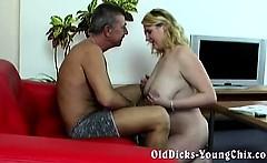Amateur grandpa with hot blonde BBW
