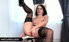 Brunette bitch fucks ass with toy