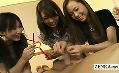 Subtitles CFNM Japanese group bizarre foreskin cup