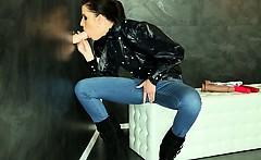 Morgan Blanchette at the gloryhole getting bukkake