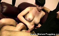 Horny milf jerking off his hard cock
