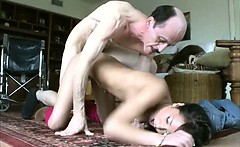 Pretty Asian Teen Girl Gets Bent Over By Old Man