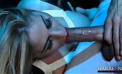 Naughty hotie Cathy sucks her sex slaves big cock