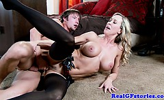 Busty blonde housewife milf takes facial
