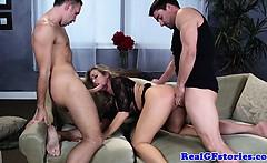 Big titted blonde girlfriend threeway fun