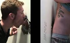 Straight dude gets gay blowjob at gloryhole