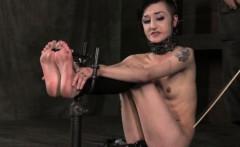 BDSM tattood bondage sub feet spanked