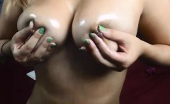 Amateur Oils Up And Lubes Up Her Body