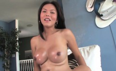 Asian lady boy Taylor in solo cock play