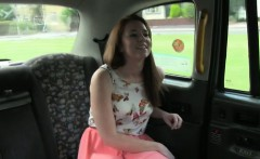 Busty redhead amateur licks ass in fake taxi