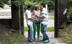 Young girl STREET PUBLIC gangbang sex orgy Part 1