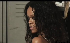 Rihanna seethrough to her ebony breasts in a photoshoot