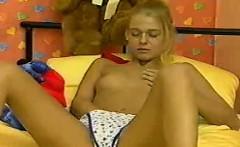 Sweet Blonde Strips And Masturbates