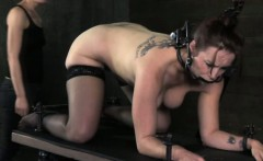 BDSM sub open mouth gagged and drooling