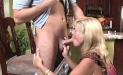 mature milf handjob and blowjob in kitchen