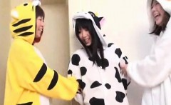 Subtitled Japanese group cosplay wardrobe malfunction