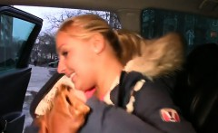 Busty blonde amateur fucked from behind in taxi