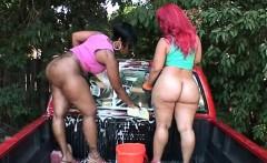 Big ass ebony duo performing a nasty car wash outdoor