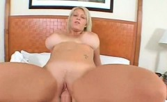 Chesty blonde MILF pounded hardcore in her slick pussy