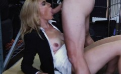 Blonde milf pussy nailed at the pawnshops storage room