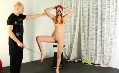 Slave redhead girl get special naked training