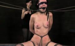 Sensory deprived bondage bed sub gagged