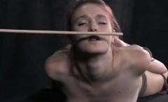 Bondage slut hogtied and dripping wet