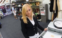 Hot milf fucked by pawn man at the pawnshop and gets payed