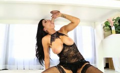 Huge juggs babe Romi Rain milking big cock under the table