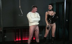 Dude in straight jacket ass plugged in bdsm