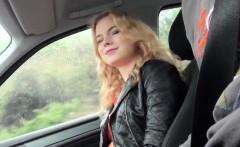 Hitchhiking european blonde fucked closeup