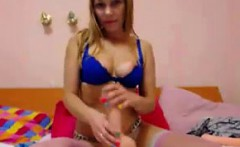 hot blonde girlfriend fucks herself with a lot of toys