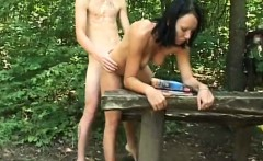 Young couple public sex in the wood