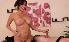 Hugetitted femdom masseuse jerks tied down client off