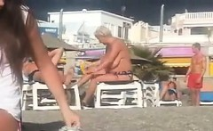 Spying On A Fat Mother Outside At A Beach