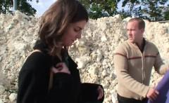 Young Czech Teen get outdoor ass fuck for money by 2 german