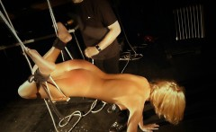 Blonde slave begging for mercy in a ruthless bdsm fantasy