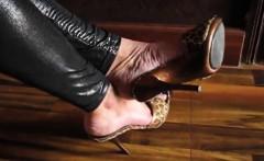 Teasing Her Feet In Exotic High Heels