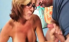 Tanned Mature Mom Plays With His Dick