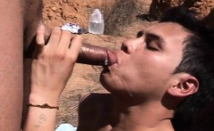 Latino boyscouts barebacking outdoors