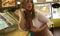 Busty Babe Flashing At The Subway Restaurant