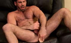 Mature Billy Santoro tugs with toy in his ass