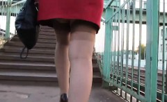 Walking Up The Steps Upskirt Outdoors