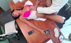 Doctor pounds eurobabe on top of desk