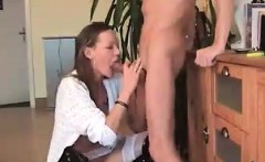 brunette wife gives blowjob