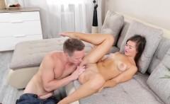 Naughty brunette babe enjoys a balls deep anal sex