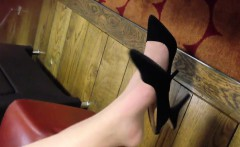 Pale Feet And Sexy Black High Heels