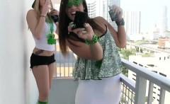 Party teens spunk sprayed
